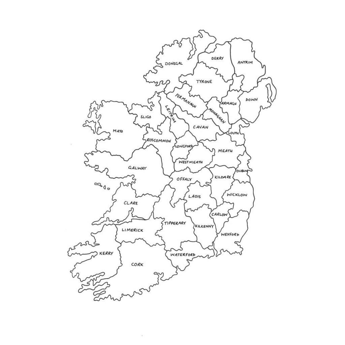 Przeglądowa Mapa Irlandii Mapa Kontur Mapy Irlandii Europa